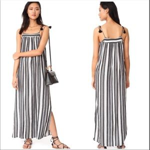 Madewell 6 striped side button tassel maxi dress